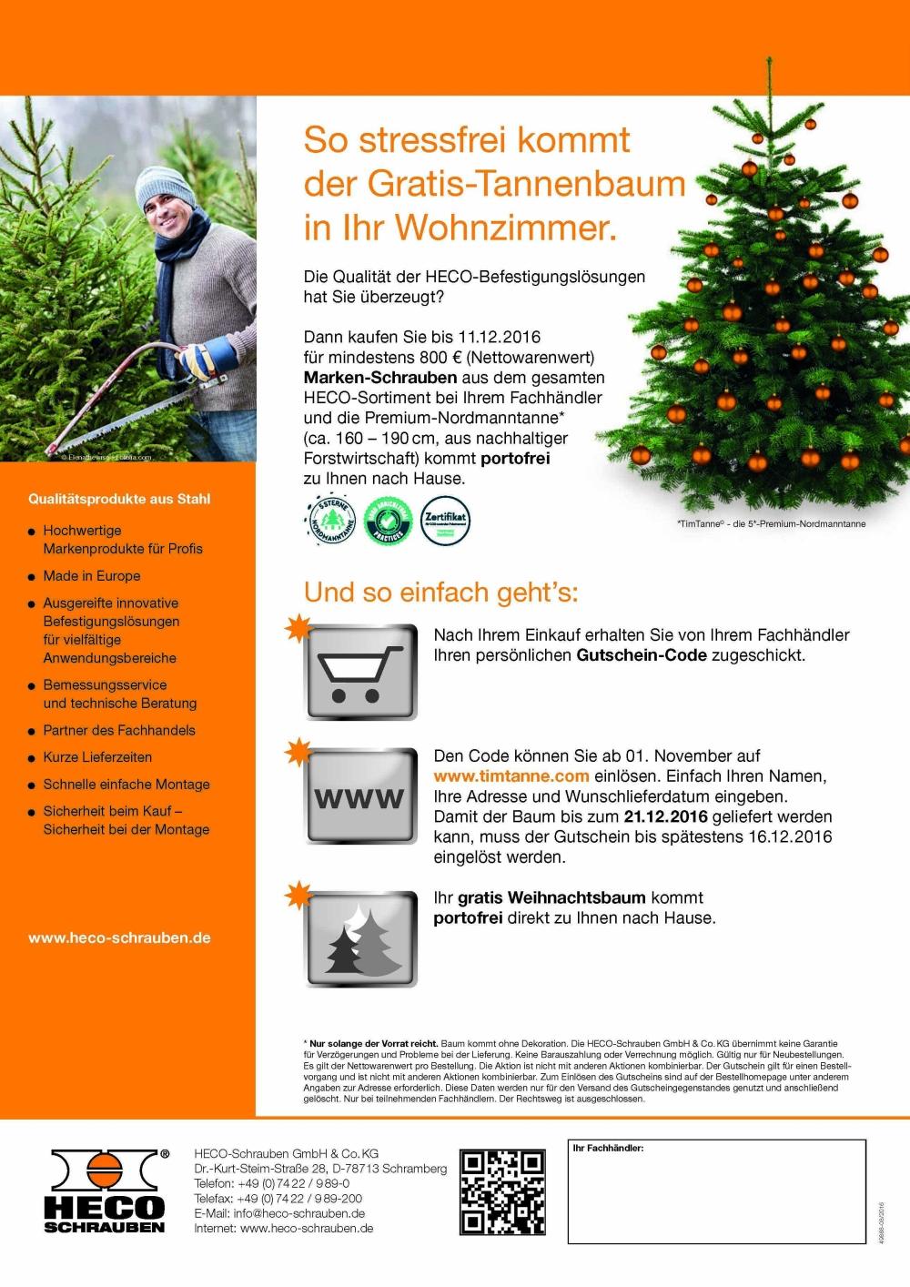 Gutschein Weihnachtsbaum.Heco Der Weihnachtsbaum Kommt Mit Der Post Dachbaumagazin