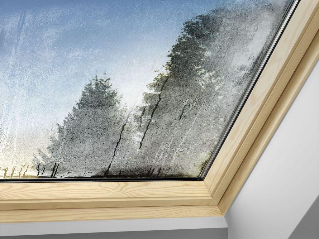 Kondenswasser an den Fenstern kann ein erstes Anzeichen für zu hohe Luftfeuchtigkeit sein (Foto: Velux Deutschland GmbH)