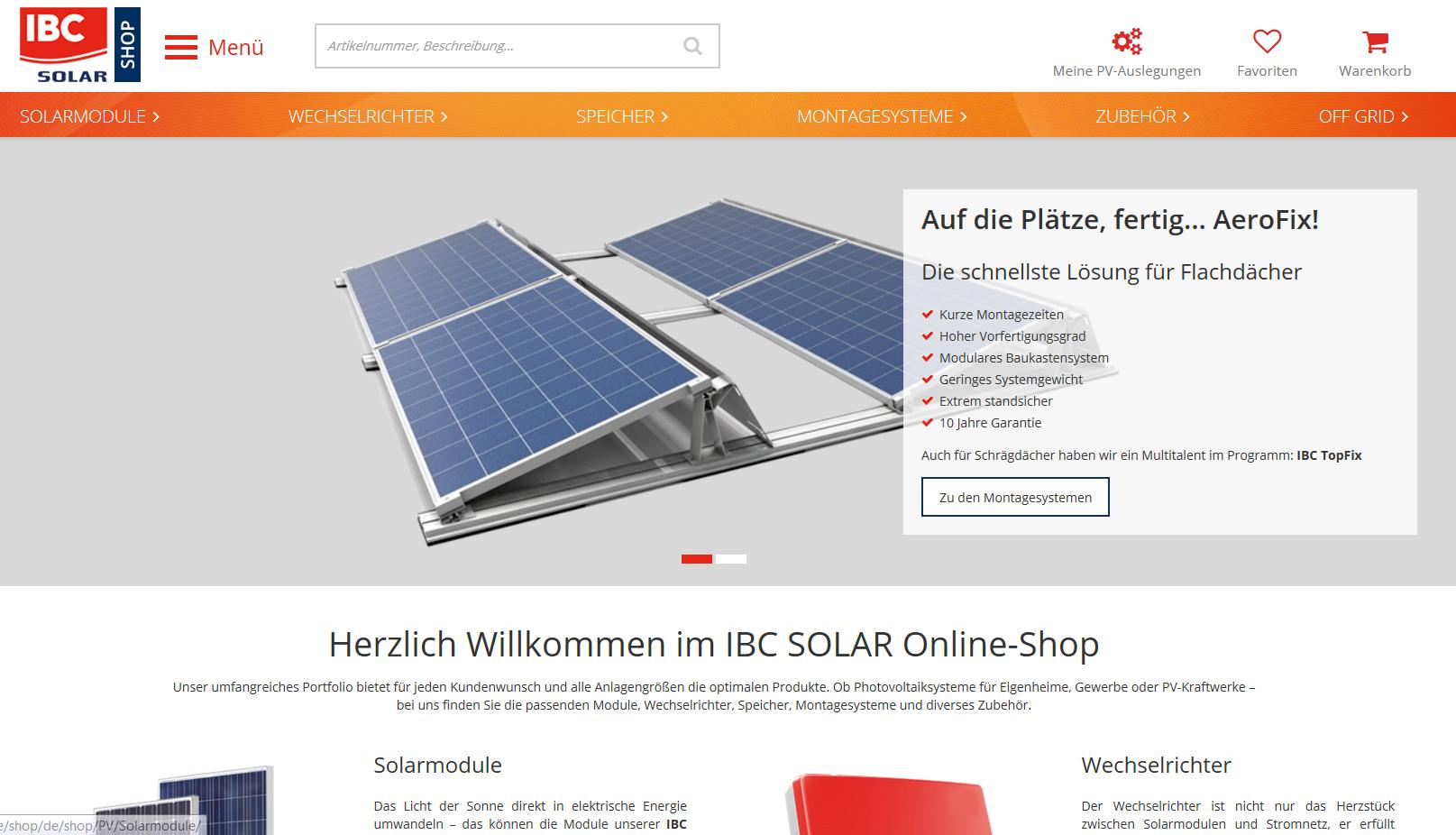relaunch f r ibc solar online shop dachbaumagazin. Black Bedroom Furniture Sets. Home Design Ideas